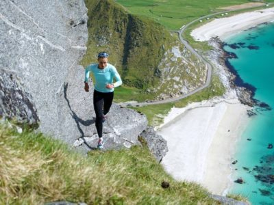 Trail Running adventure above Haukland beach