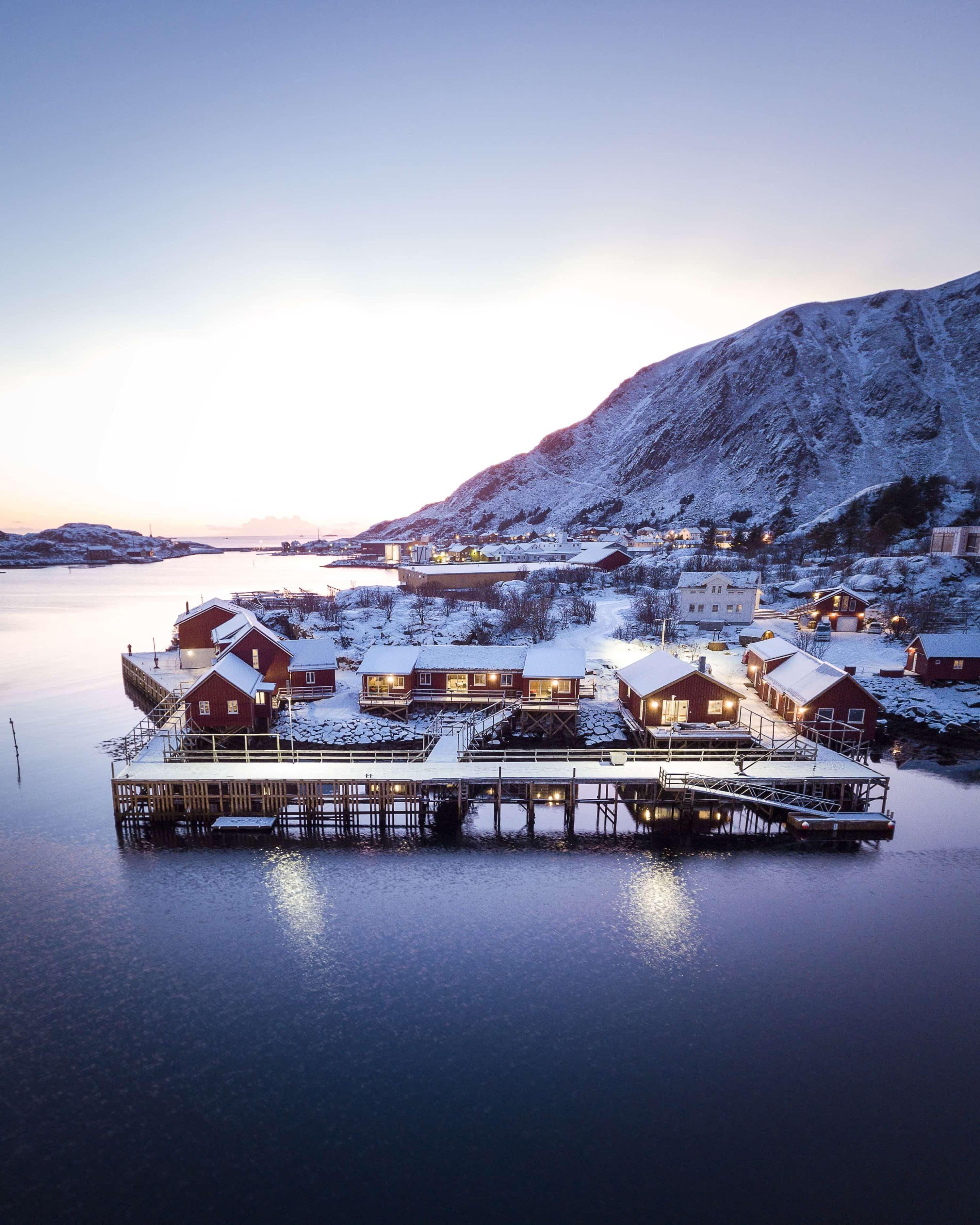 Overview of Hattvika Lodge in the Lofoten islands