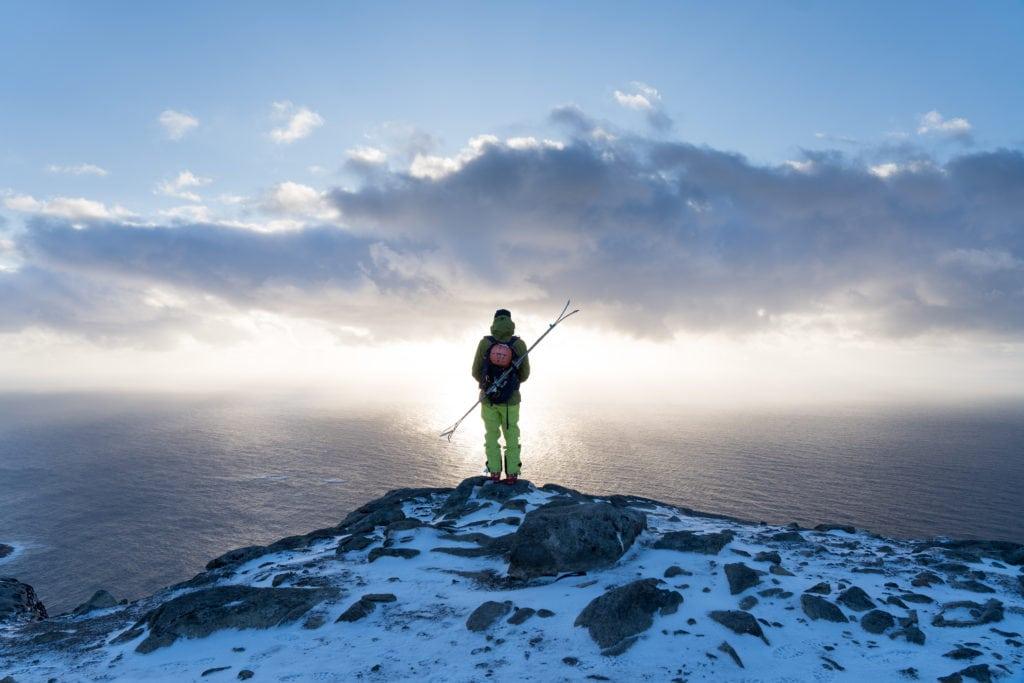 Skimountaineering from the summit of Ryten