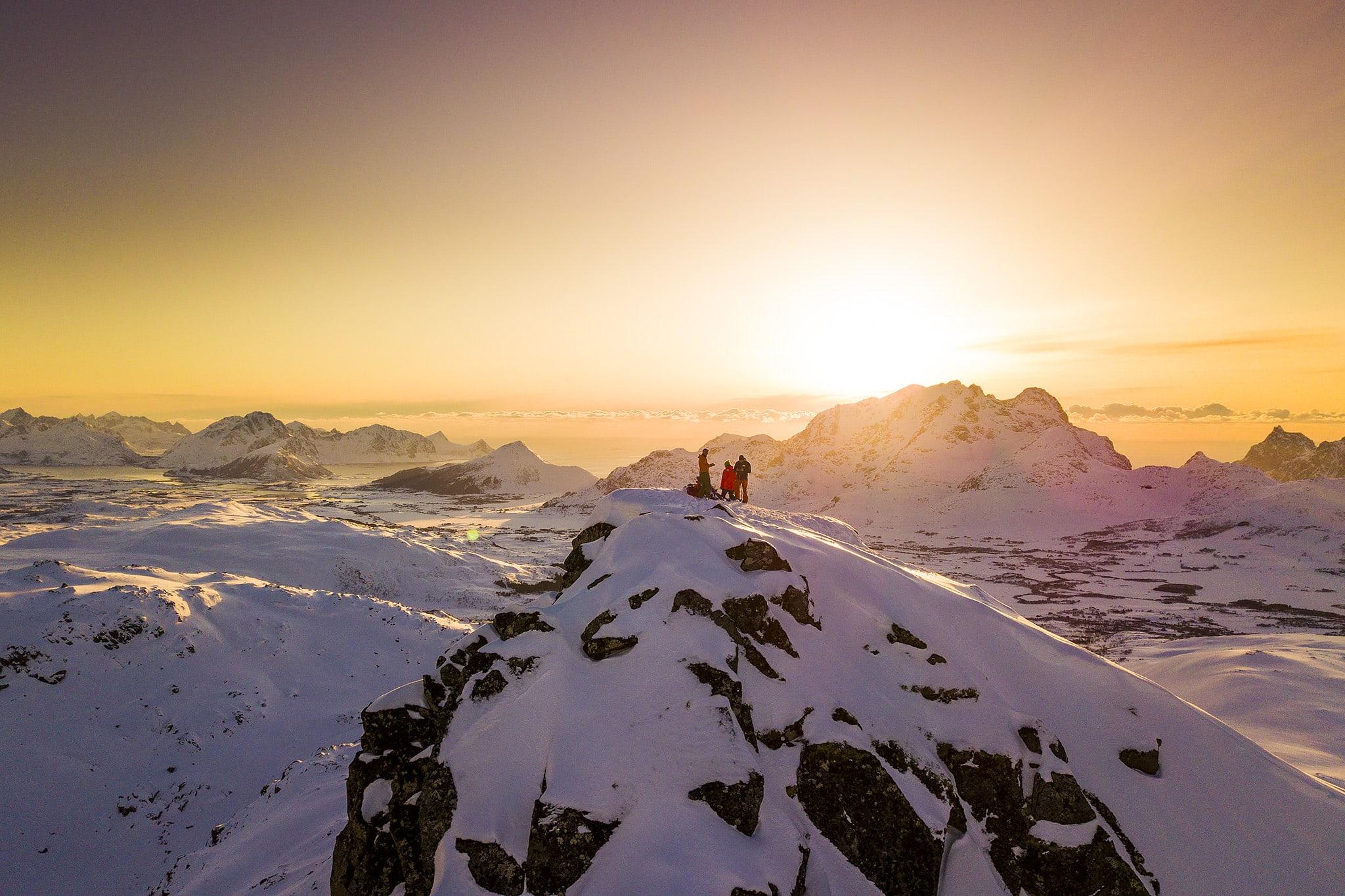 Sunset wintertime in the Lofoten islands