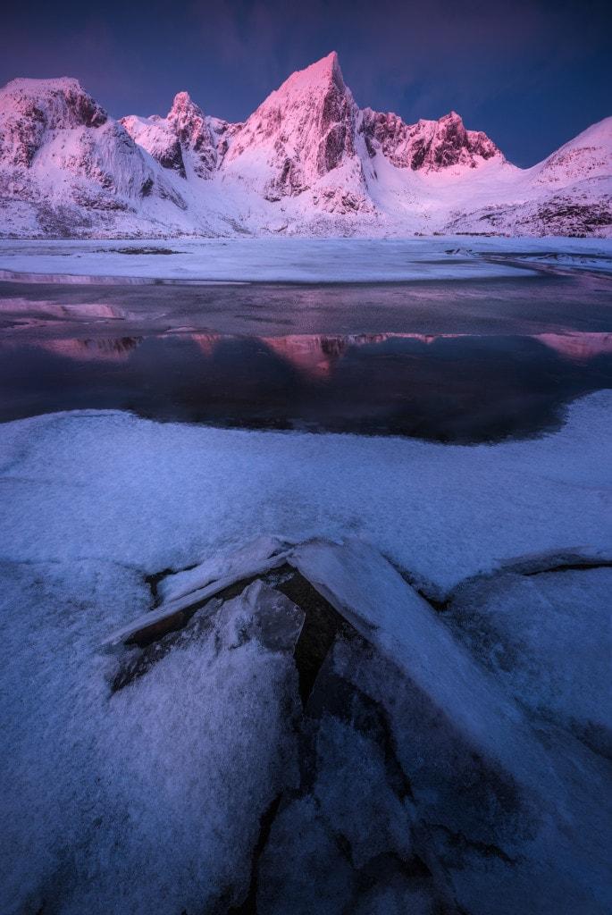 Ice cold beach in the Lofoten islands